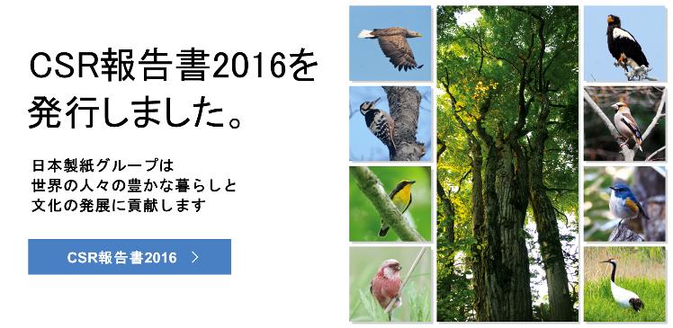 CSR報告書2016を発行しました。日本製紙グループは世界の人々の豊かな暮らしと文化の発展に貢献します CSR報告書2016